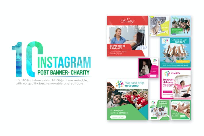 Thumbnail for 10 Instagram Post Banner-Charity