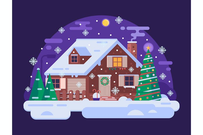 Thumbnail for Cartoon Christmas House by Snowy Winter Night
