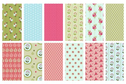 Vector Seamless Spring Patterns