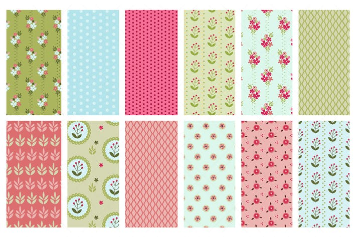 Thumbnail for Vector Seamless Spring Patterns