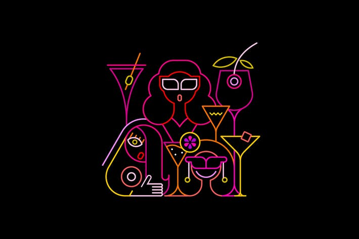 Cover Image For Cocktail Party Neon Sign Vector Illustrations