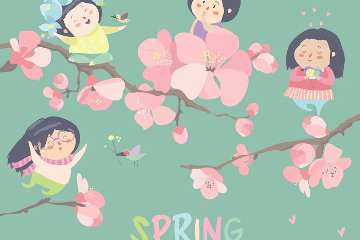 Thumbnail for Cute little girls with cherry blossom. Vector