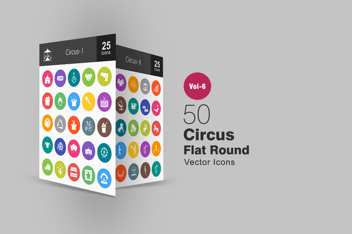 Thumbnail for 50 Circus Glyph Multicolor BG Icons