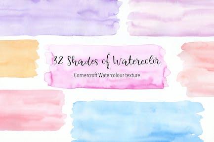 32 Schattierungen von Aquarell Textur