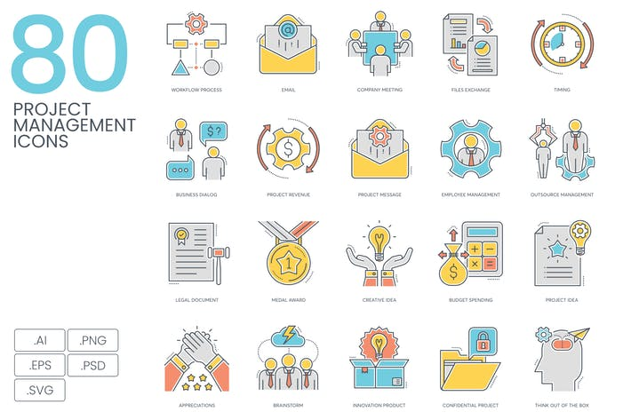 Thumbnail for 80 Project Management Icons