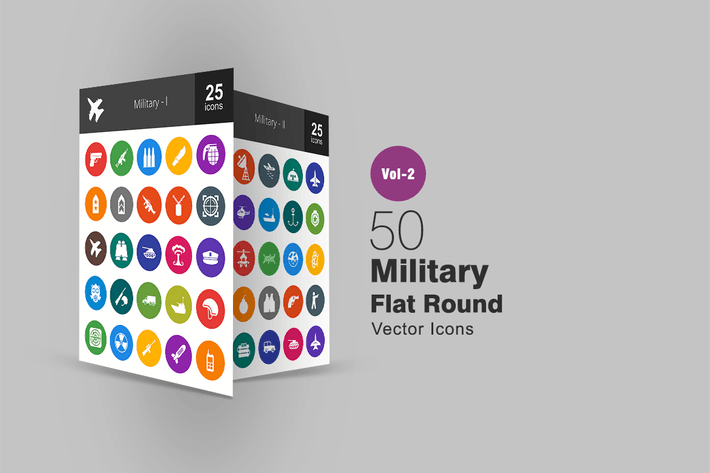 Thumbnail for 50 Military Flat Round Icons