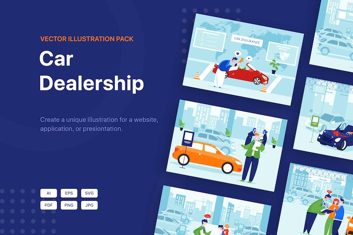 Thumbnail for Car Dealership Vector Illustration Pack