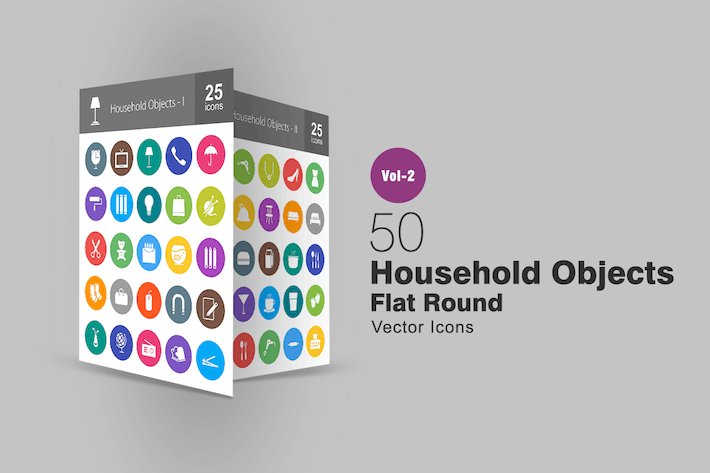 50 Household Objects Flat Round Icons
