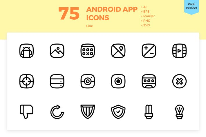 Thumbnail for 75 Android App Icons (Line)