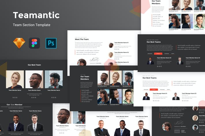 Cover Image For Teamantic - Team Section UI Kit Template