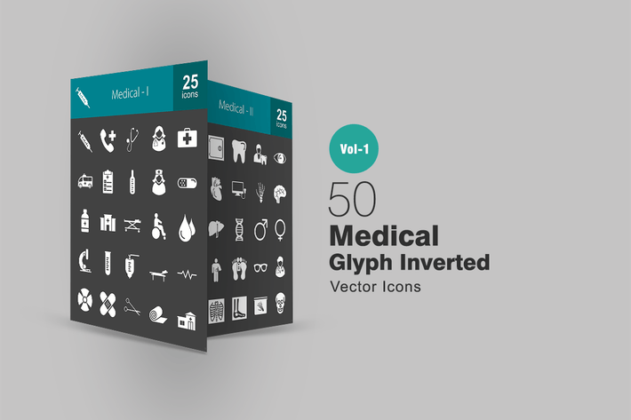 Thumbnail for 50 Medical Glyph Inverted Icons