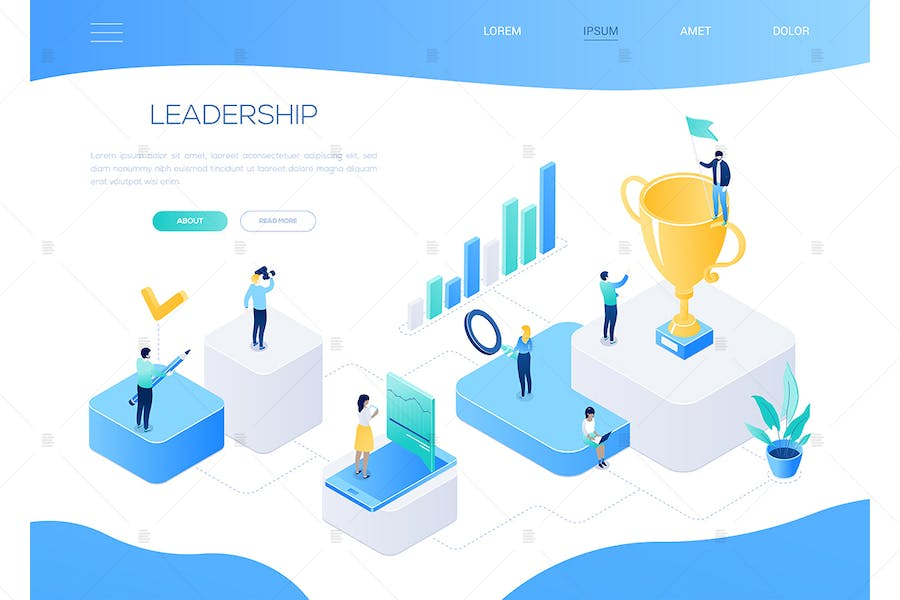 Leadership - colorful isometric vector web banner