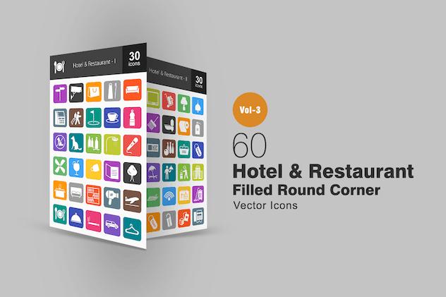 60 Hotel & Restaurant Flat Round Corner Icons