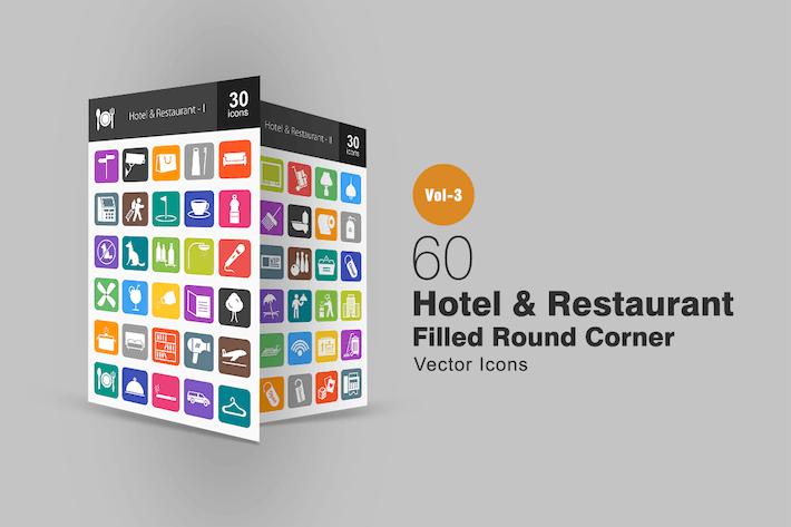 Thumbnail for 60 Hotel & Restaurant Flat Round Corner Icons