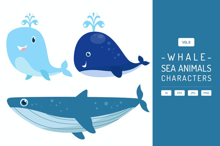 Thumbnail for Cute Whale - Sea Animals Characters Vol.6