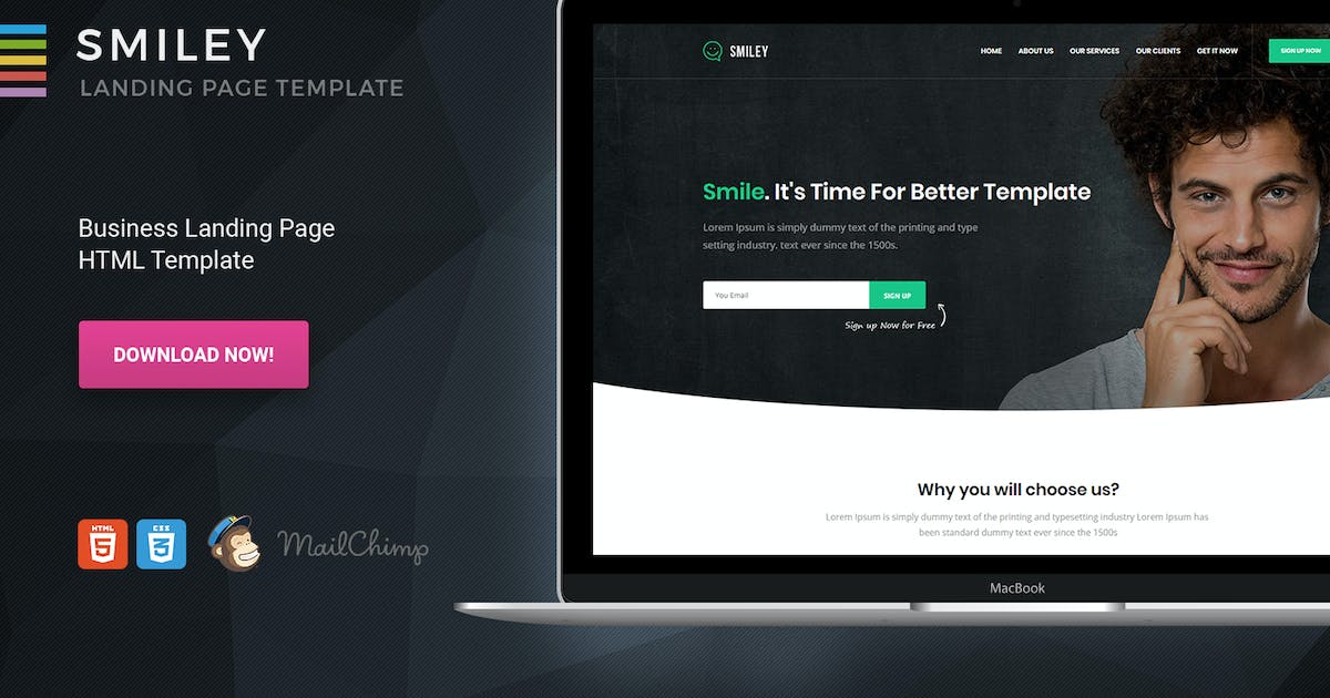 Download Smiley - HTML Business One Page Template by Morad