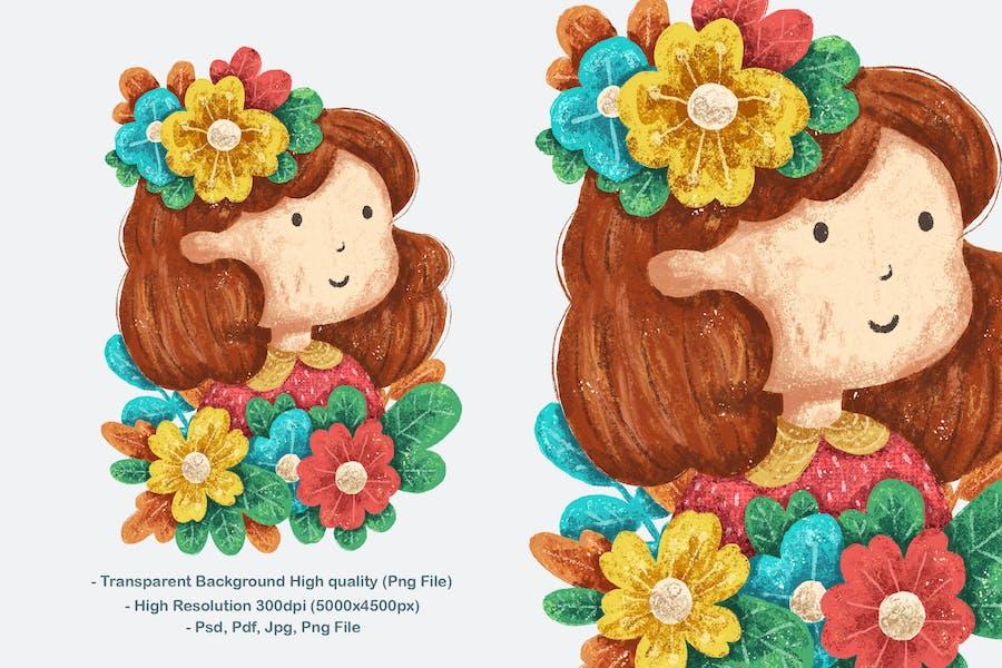 Illustration design petite fille avec fleur mignonne
