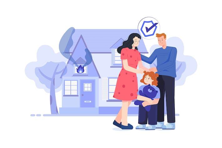Sécurité de la famille pendant l'accident d'incendie dans la maison