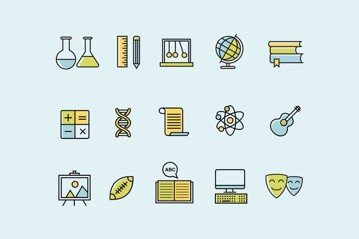 Thumbnail for 15 School Subject Icons