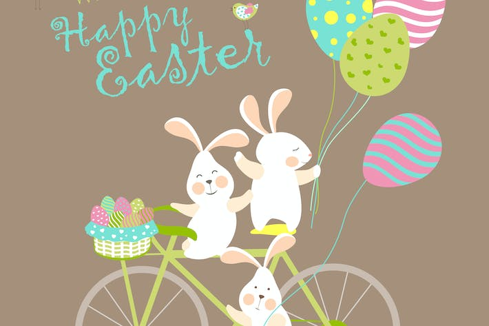 Thumbnail for Easter bunnies and easter eggs. Vector