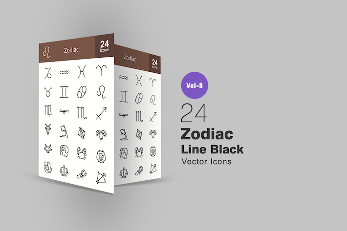 Thumbnail for 24 Zodiac Line Icons