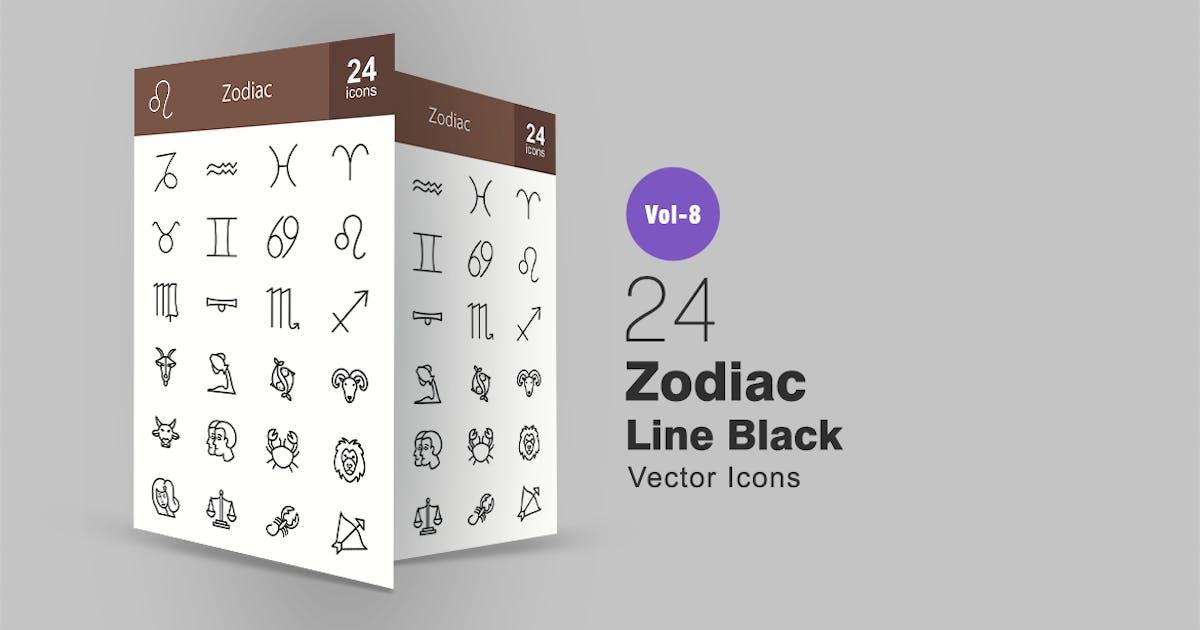 Download 24 Zodiac Line Icons by IconBunny