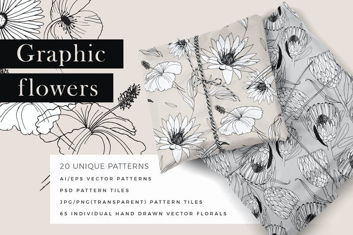 Graphic Flowers Patterns & Elements