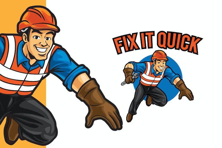 Thumbnail for Fix It Quick Logo Mascot Template