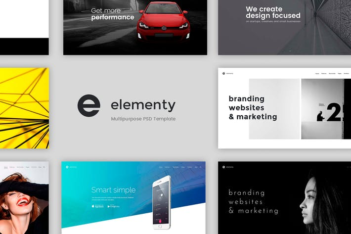 Thumbnail For Elementy Multipurpose PSD Template