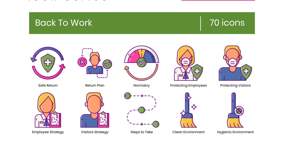Download 70 Back to Work Line Icons by Krafted