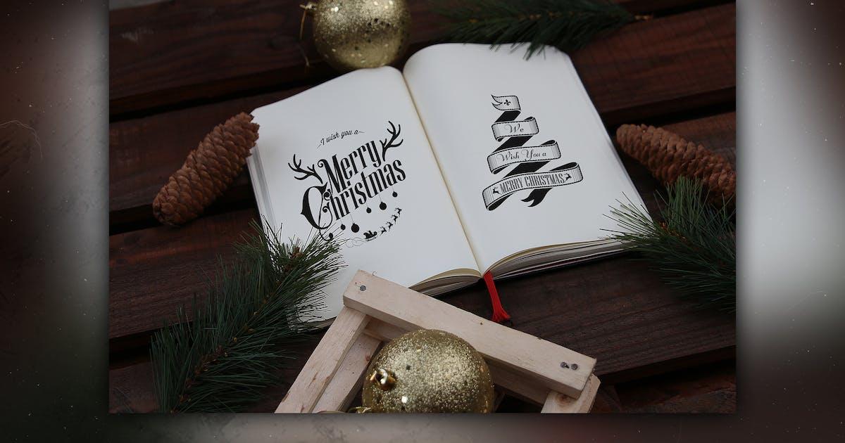 Vintage Christmas Book Mock Up by RetroBox