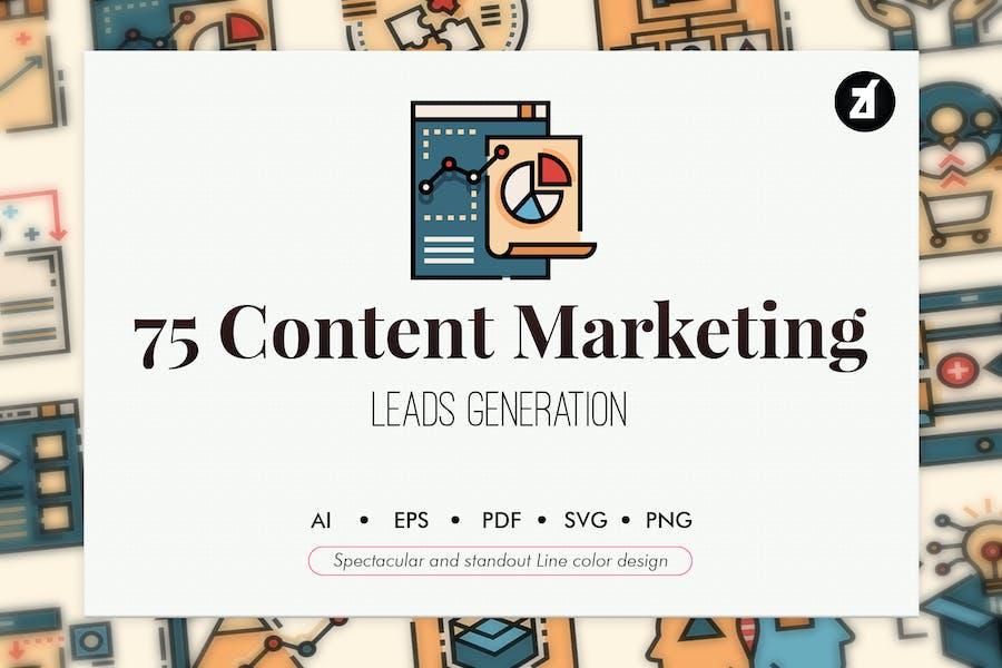 75 Elementos de marketing de contenido Diseño de color de línea
