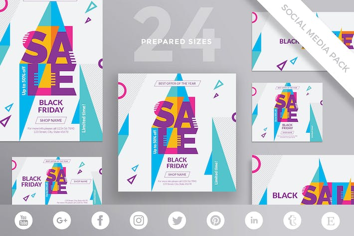 Thumbnail for Black Friday Sale Social Media Pack Template