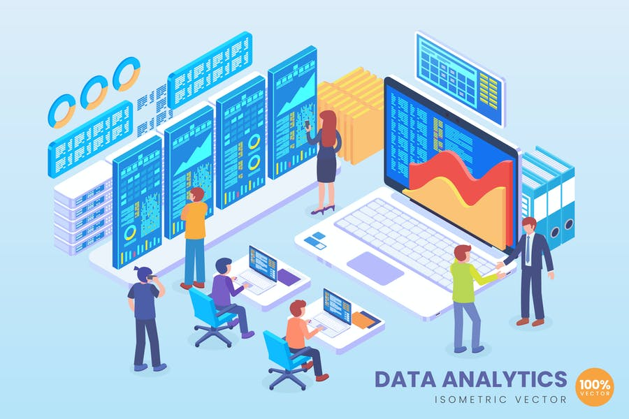 Isometric Data Analytics Vector Concept