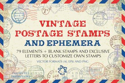 Vintage Briefmarken und Ephemera Vektor Set