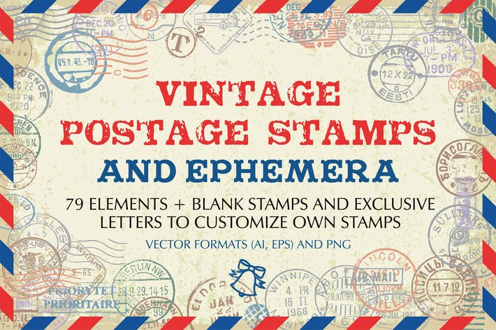 Thumbnail for Vintage Postage Stamps And Ephemera Vector Set