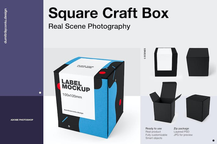 Thumbnail for Square Craft Box Mockup