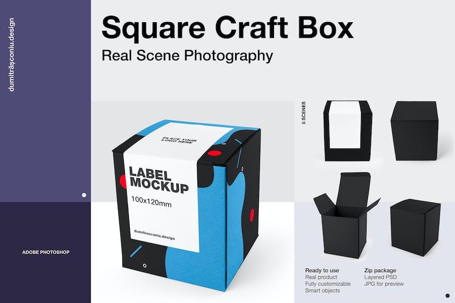 Square Craft Box Mockup