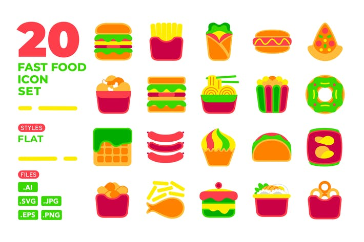 Thumbnail for Fast Food Icon Set (flach)