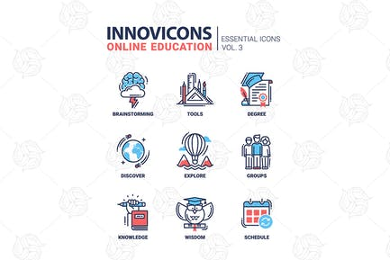 Online Education Icons Set Brainstorming-Tools