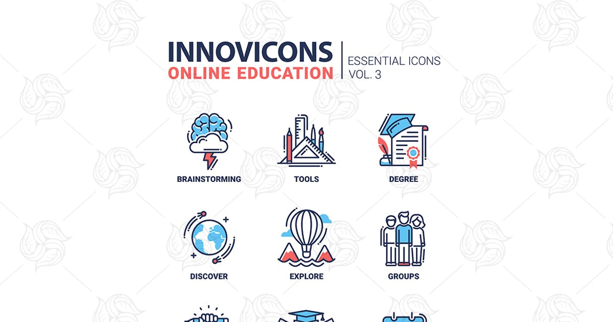Download Online Education Icons Set Brainstorming tools by BoykoPictures