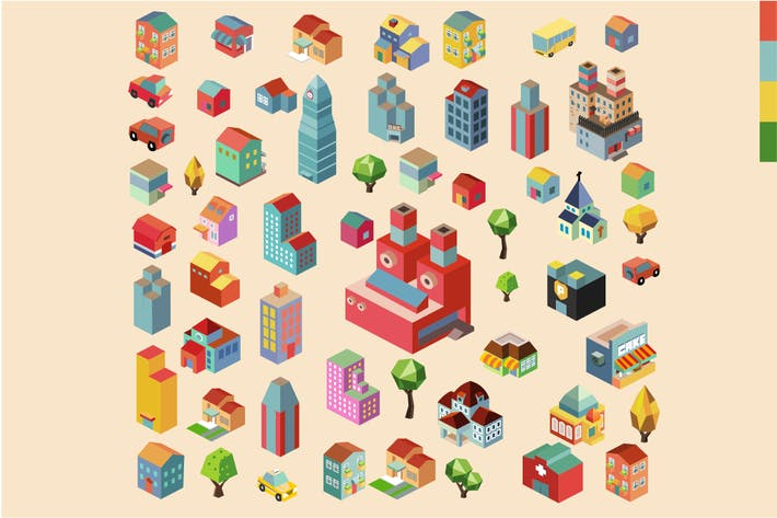 Cover Image For Colorful vector isometric city