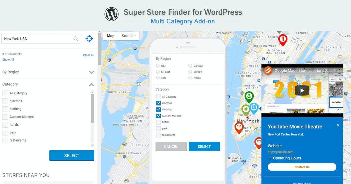 Download Google Maps Multi Category Add-on for WordPress by highwarden
