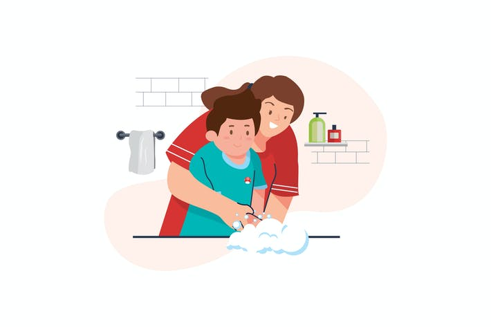 Thumbnail for Virus Prevention  Washing Hands Illustration