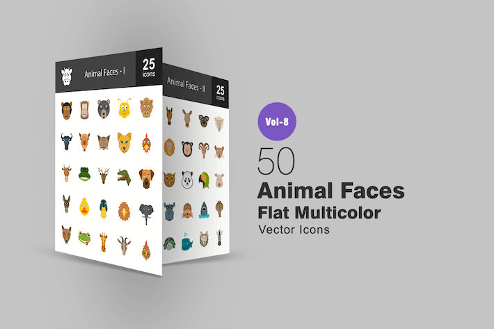 Thumbnail for Animal Flat Multicolor Faces