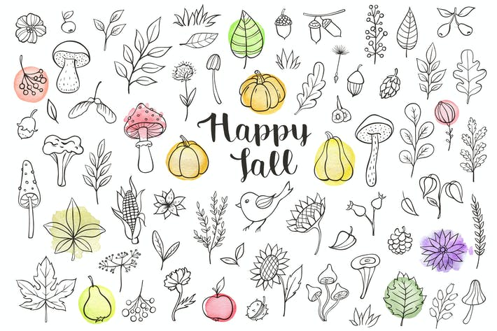 Thumbnail for Happy Fall Doodle Design Kit