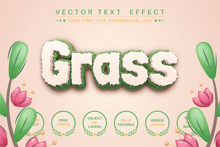 Grass - editable text effect, font style