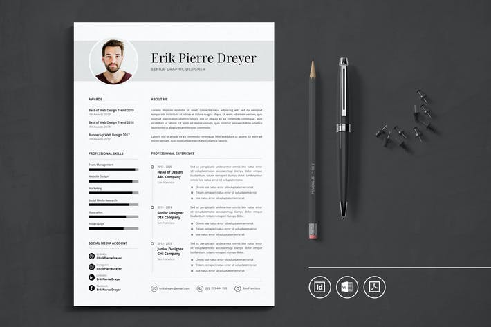 Thumbnail for Professional CV Resume Indesign Template Vol.46
