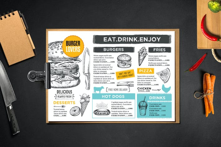 Cover Image For Burger Menu Template Restaurant
