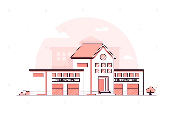 Thumbnail for Fire department - line design style illustration